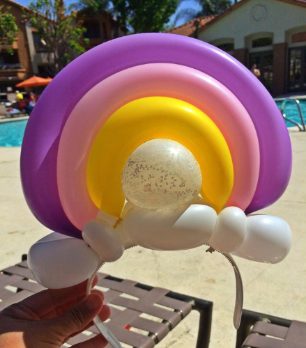 Rainbow and Clouds Balloon Hat