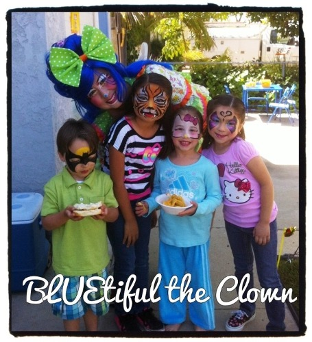 BLUEtiful the Clown with Face Painted Children