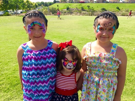 3 Girls Face Painted at the Park